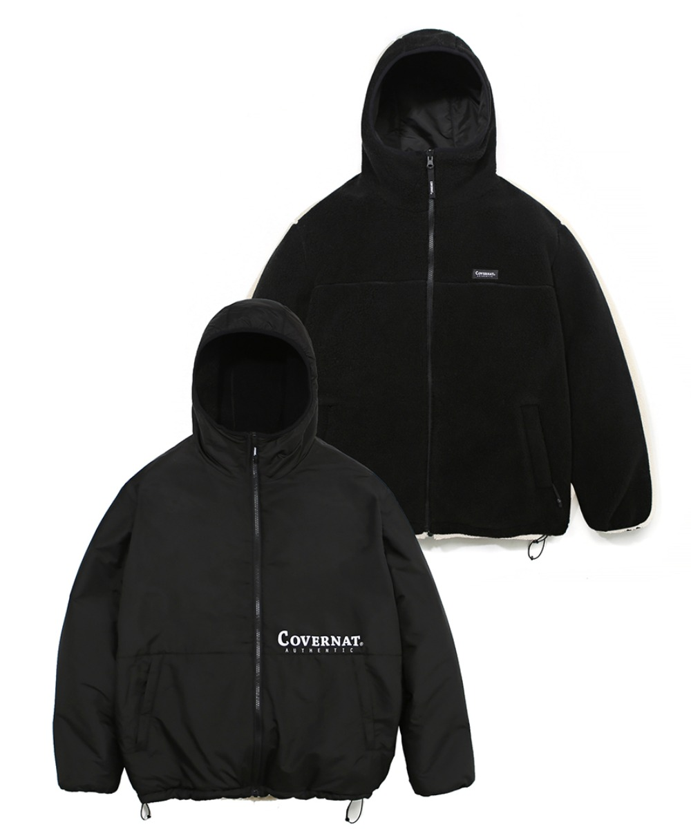 [12/27 예약발송] REVERSIBLE FLEECE WARM UP JACKET BLACK