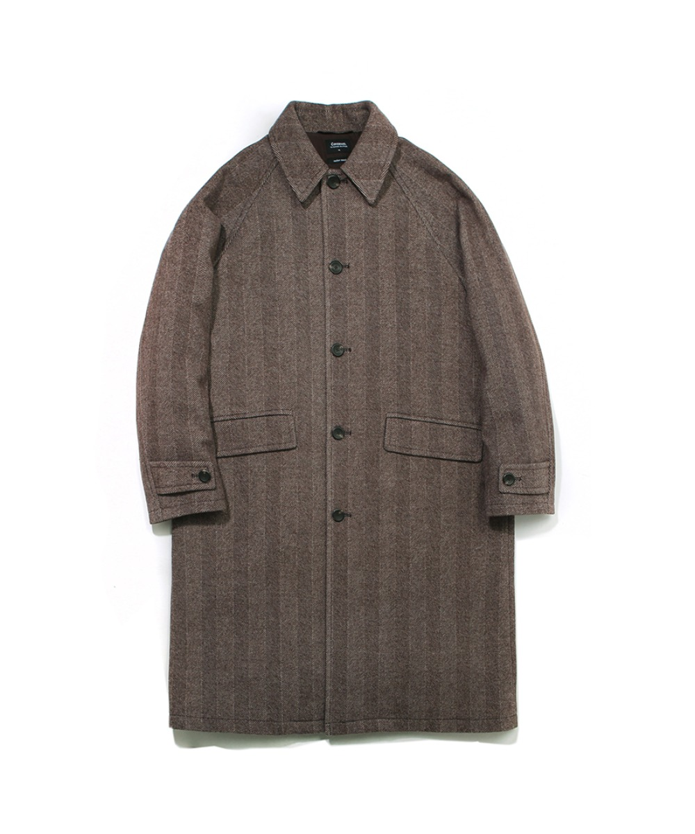 COVERNAT X TWC HERRINGBONE WOOL MAC COAT BROWN