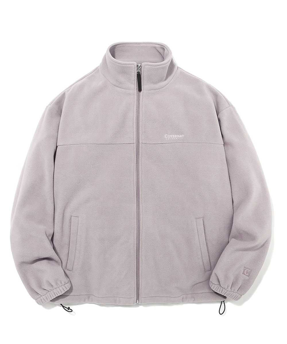 FLEECE ZIP-UP JACKET GRAY PINK