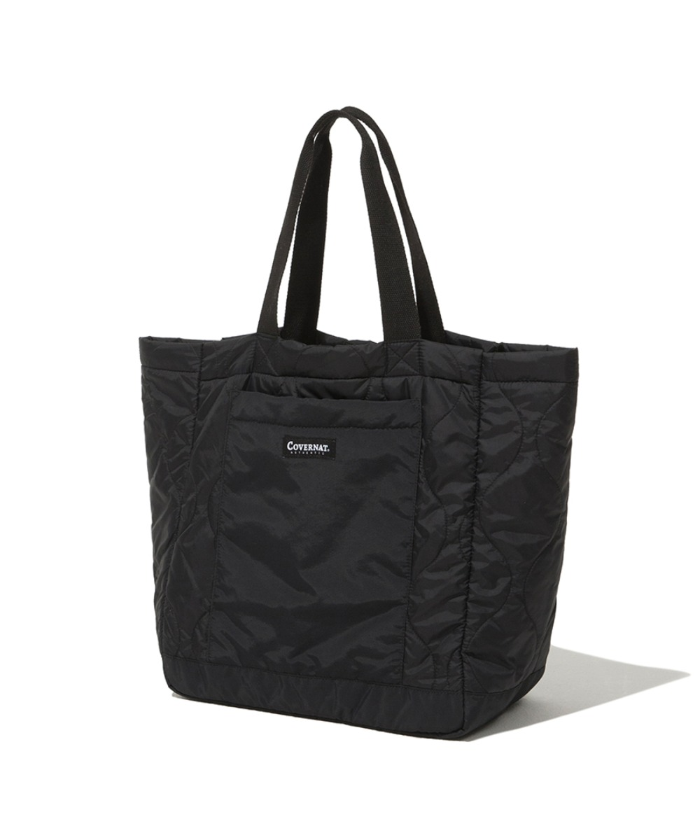 QUILTED TOTE BAG BLACK
