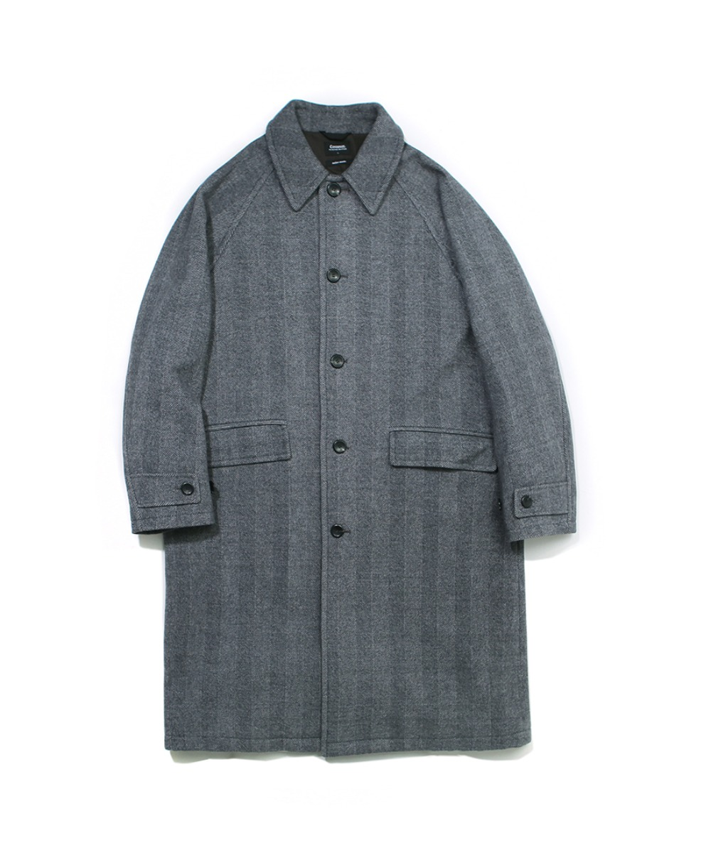 COVERNAT X TWC HERRINGBONE WOOL MAC COAT GRAY