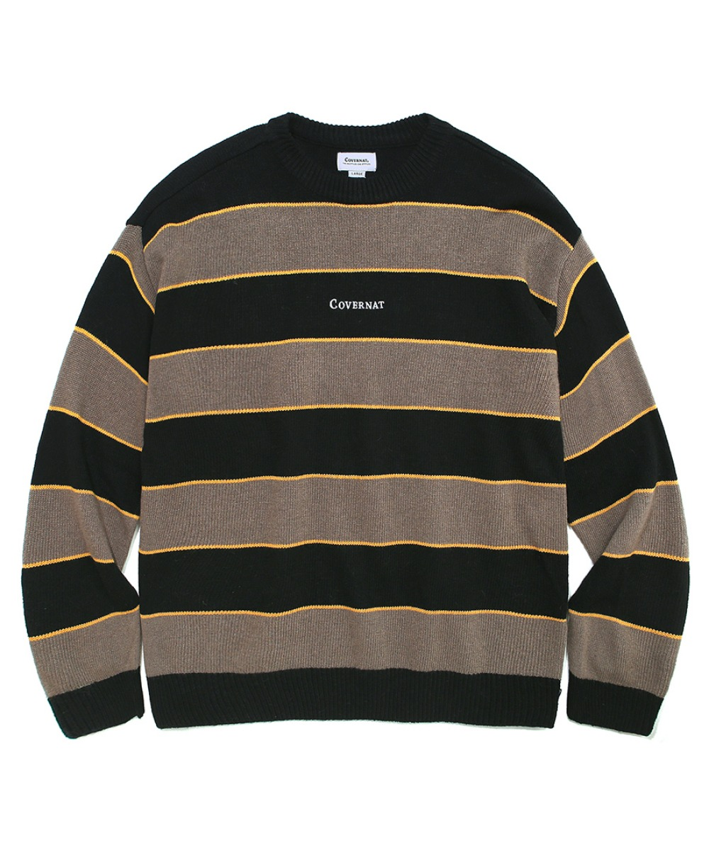 COVERNAT X TWC MULTI STRIPE KNIT CREWNECK GREIGE