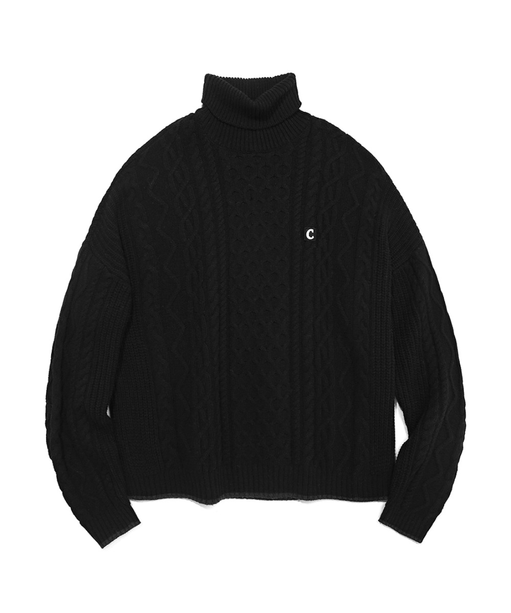 COVERNAT X TWC ARAN KNIT ROLL NECK BLACK