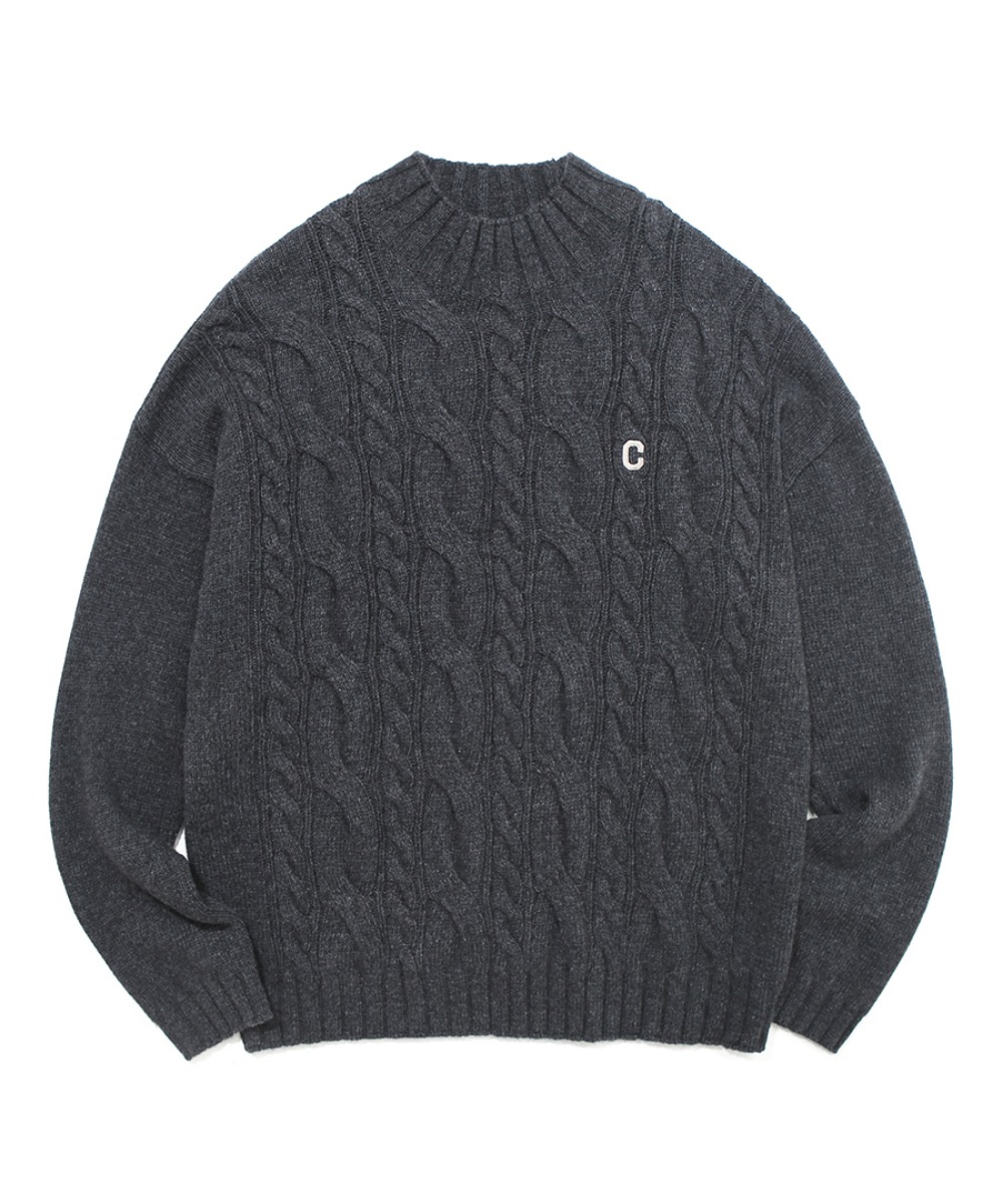 COVERNAT X TWC C LOGO MOCK-NECK KNIT CHARCOAL