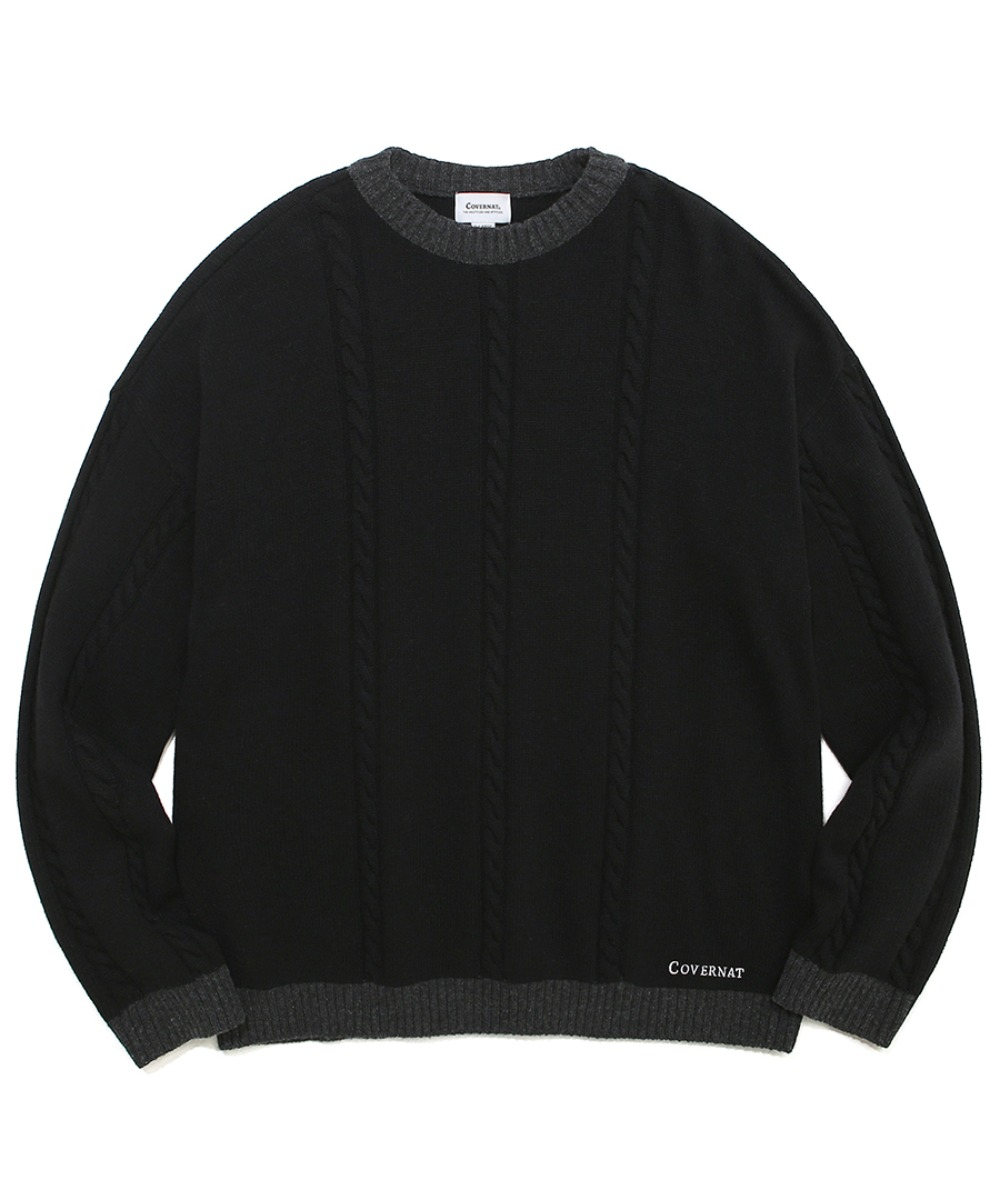COVERNAT X TWC CABLE KNIT CREWNECK BLACK