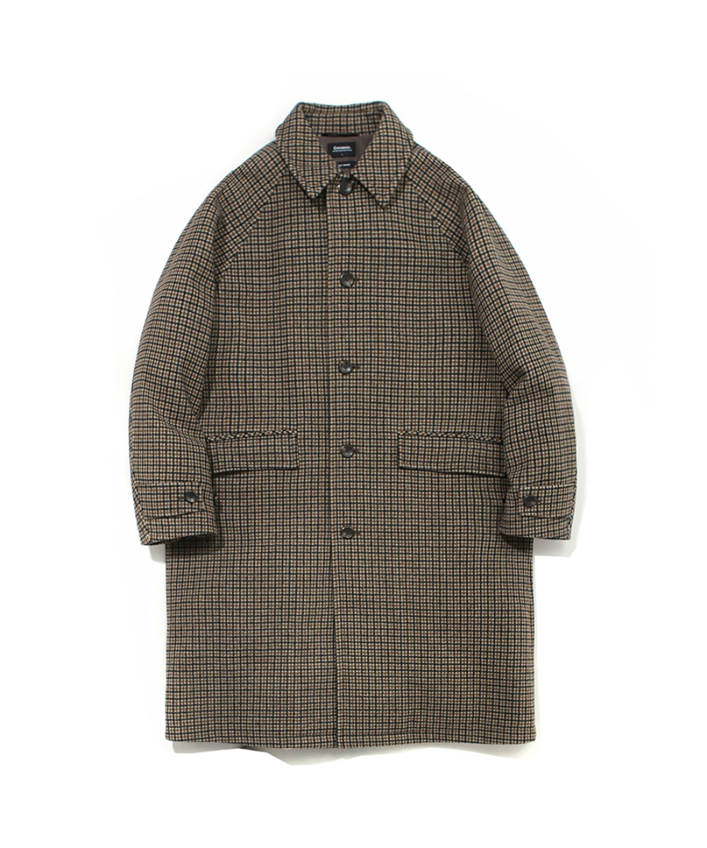 COVERNAT X TWC HOUND TOOTH WOOL MAC COAT