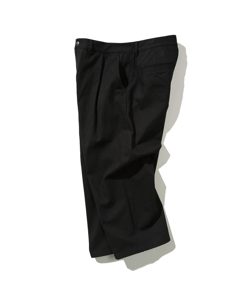 TWILL TUCK WIDE PANTS BLACK