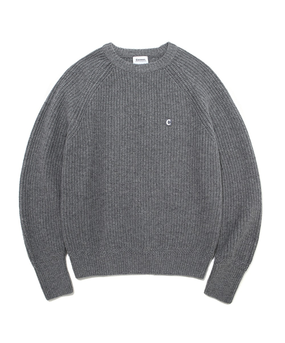 COVERNAT X TWC HEAVY GAUGE KNIT CREWNECK GRAY