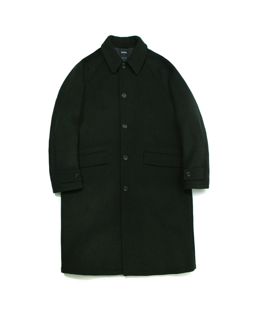 COVERNAT X TWC WOOL MAC COAT SMOKE GREEN