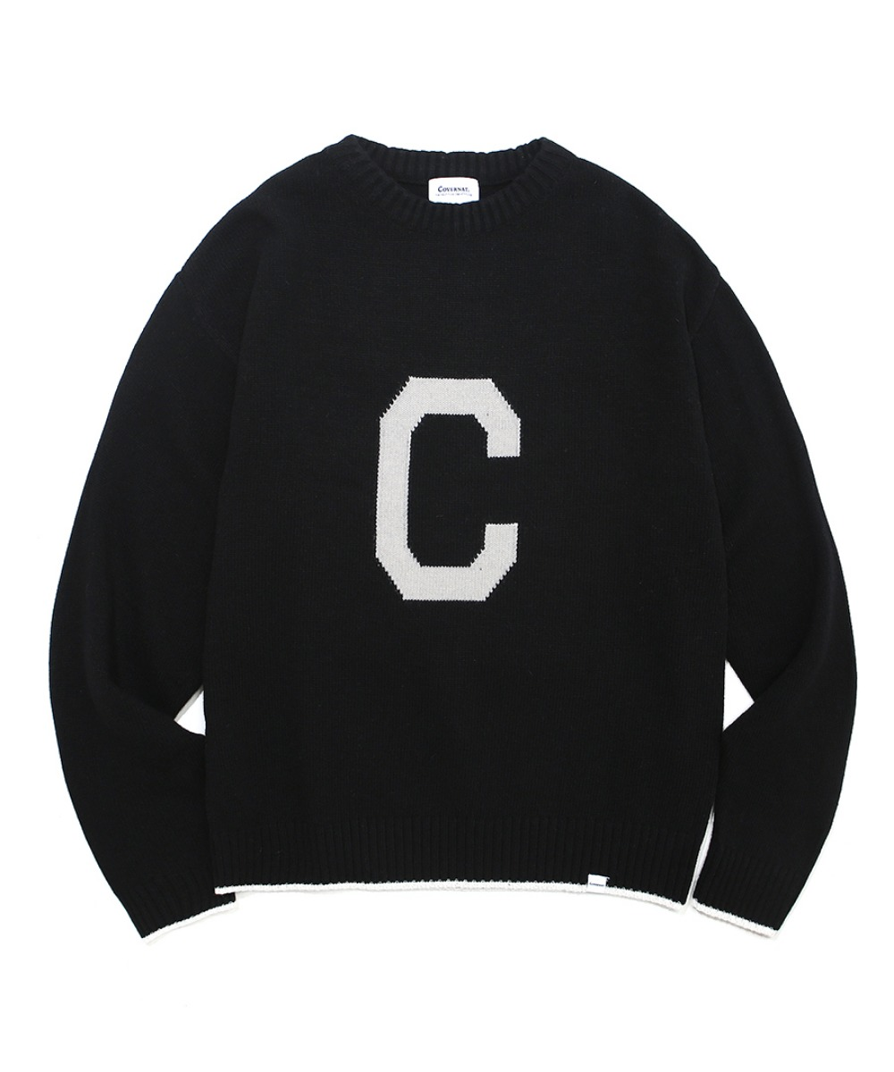 COVERNAT X TWC KNIT C LOGO CREWNECK BLACK