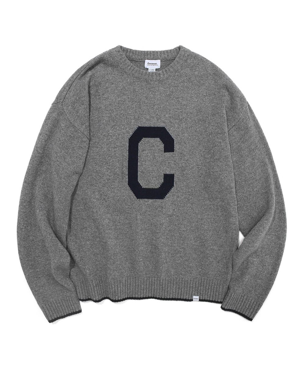 COVERNAT X TWC KNIT C LOGO CREWNECK GRAY