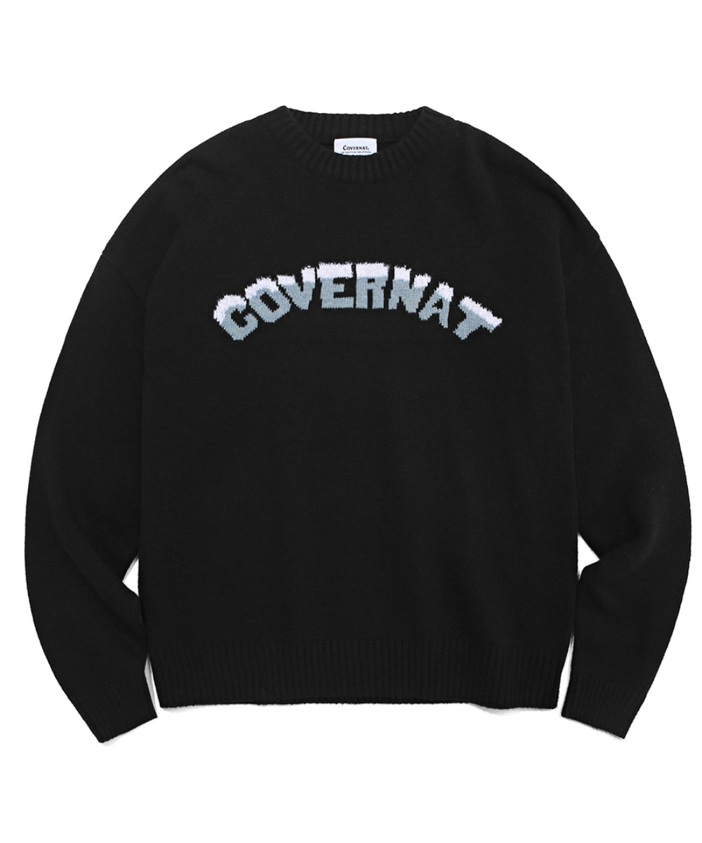 COVERNAT X TWC SNOW LOGO KNIT CREWNECK BLACK