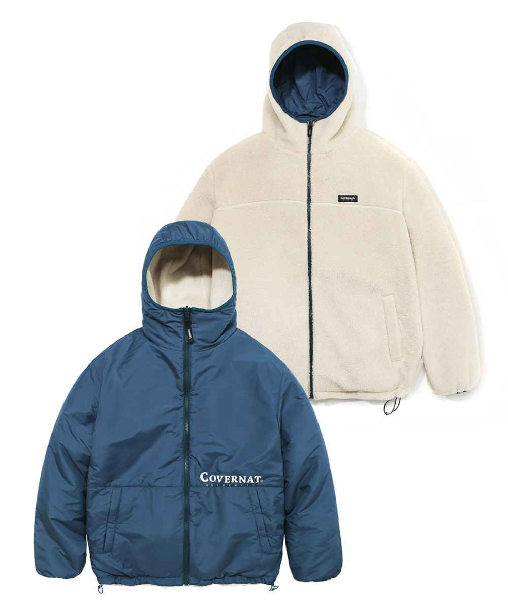REVERSIBLE FLEECE WARM UP JACKET IV/BL