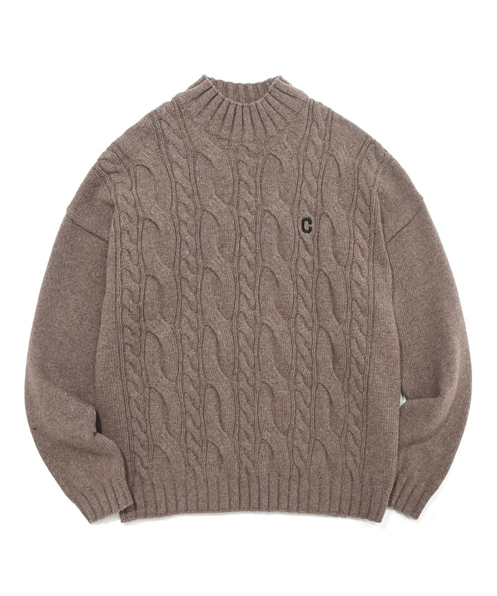 COVERNAT X TWC C LOGO MOCK-NECK KNIT BROWN