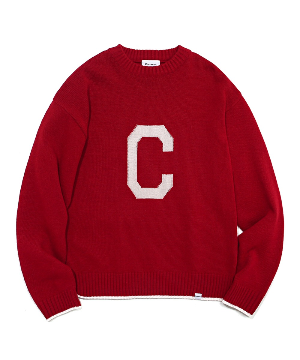 COVERNAT X TWC KNIT C LOGO CREWNECK RED