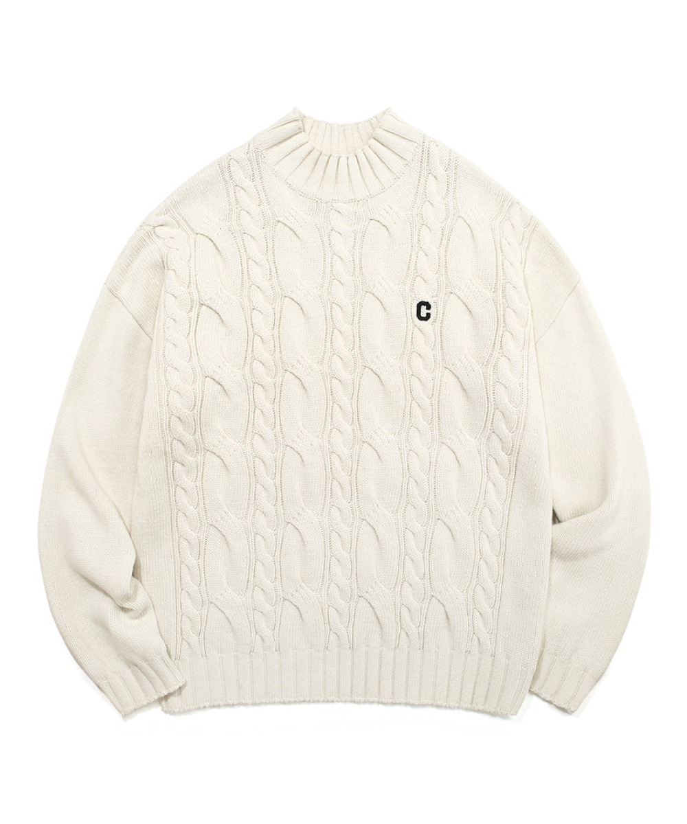 COVERNAT X TWC C LOGO MOCK-NECK KNIT IVORY