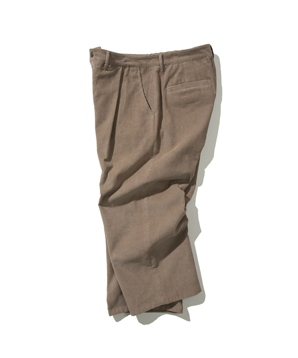 CORDUROY TUCK WIDE PANTS BEIGE