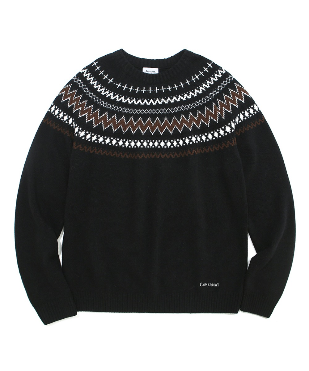 COVERNAT X TWC NORDIC KNIT CREWNECK BLACK