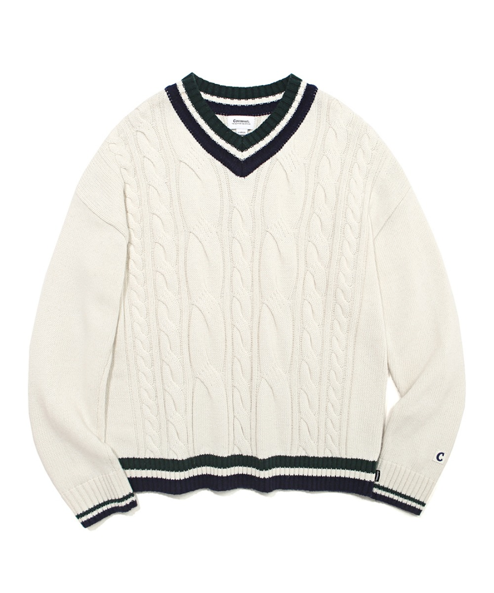 COVERNAT X TWC MIXED CABLE V-NECK KNIT IVORY