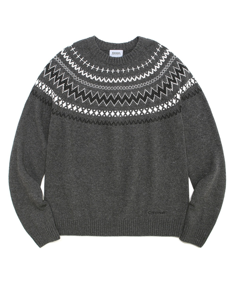COVERNAT X TWC NORDIC KNIT CREWNECK GRAY