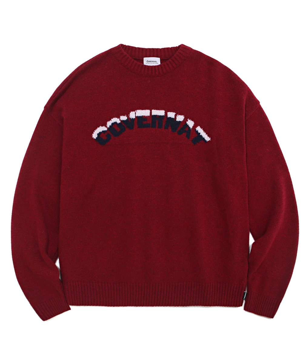 COVERNAT X TWC SNOW LOGO KNIT CREWNECK BURGANDY