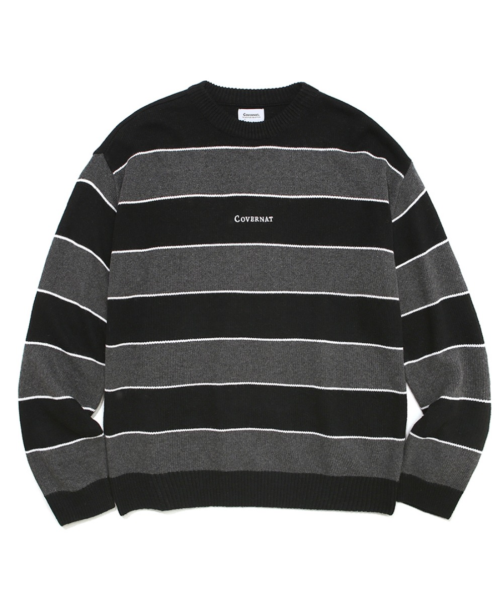 COVERNAT X TWC MULTI STRIPE KNIT CREWNECK BLACK