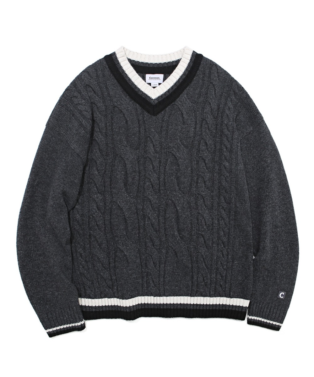 COVERNAT X TWC MIXED CABLE V-NECK KNIT CHARCOAL
