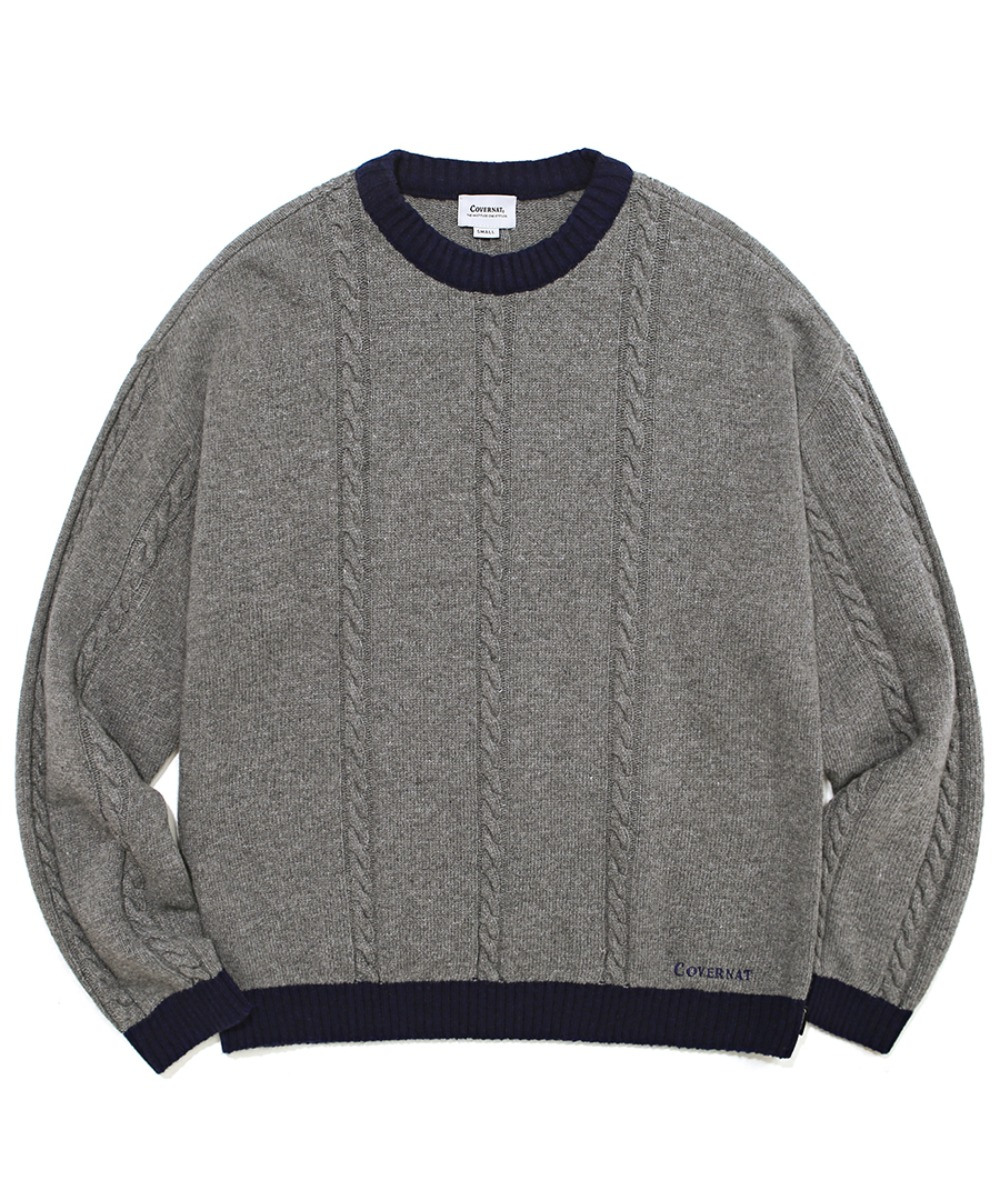 COVERNAT X TWC CABLE KNIT CREWNECK GRAY