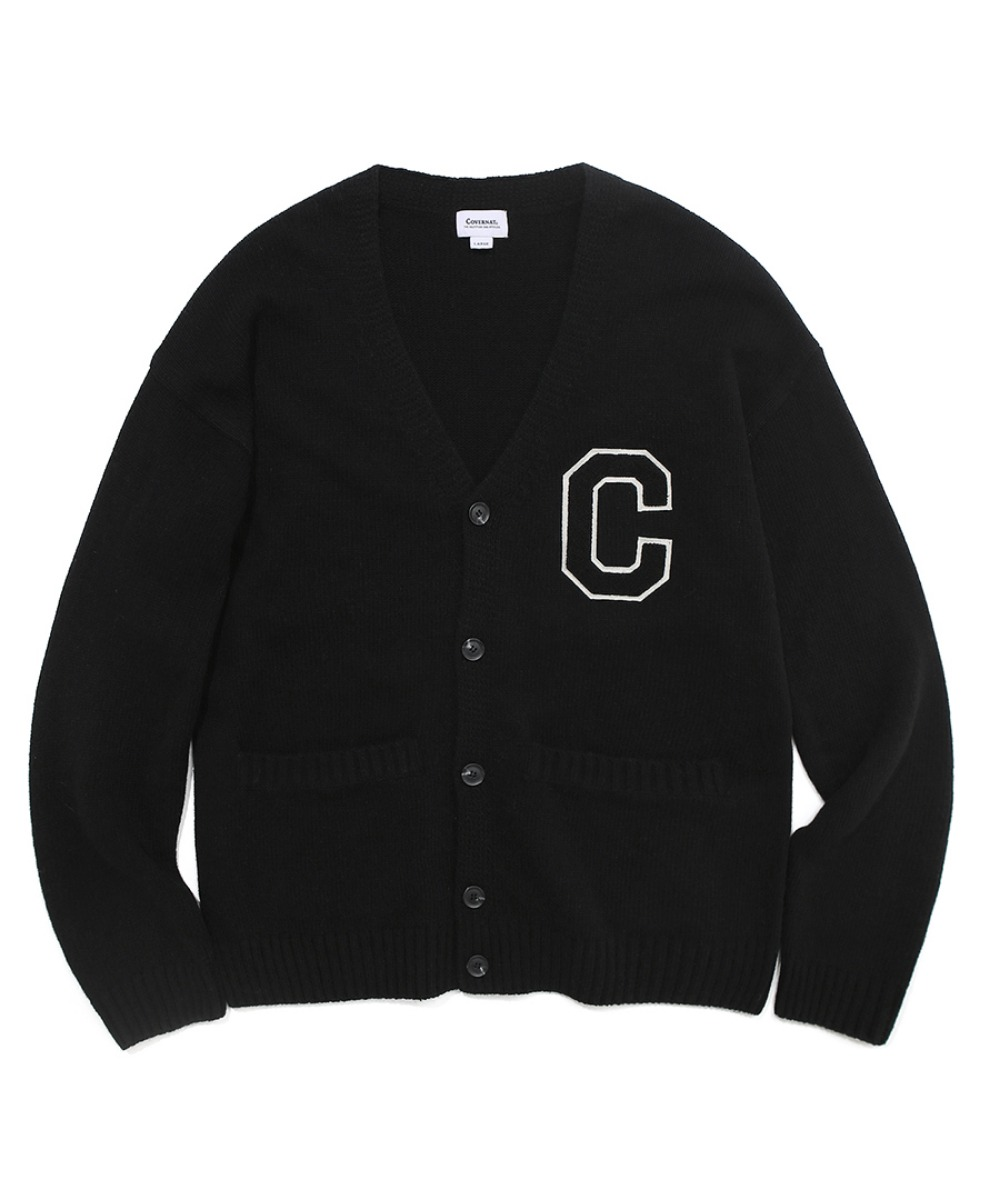 COVERNAT X TWC C LOGO KNIT CARDIGAN BLACK