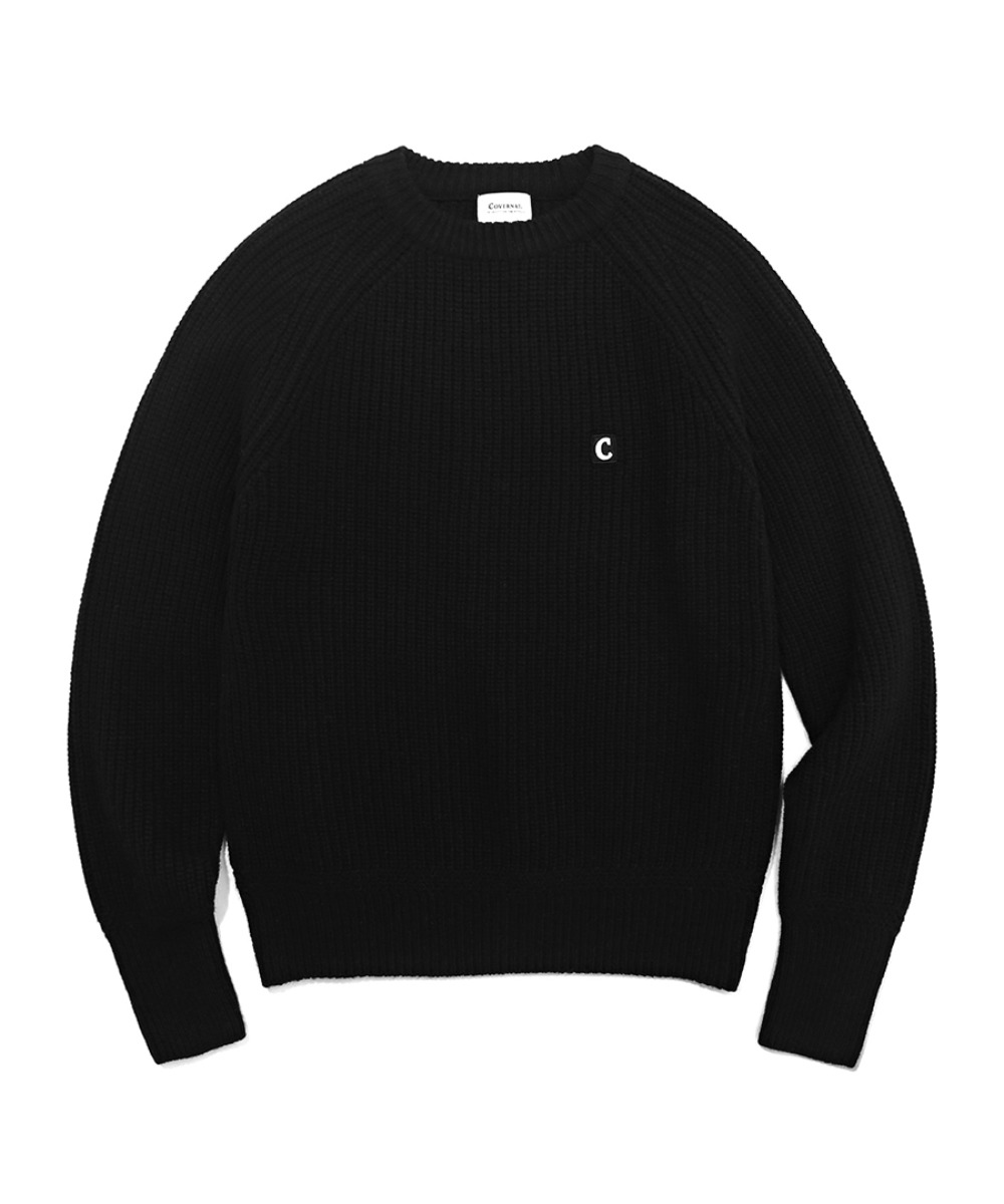 COVERNAT X TWC HEAVY GAUGE KNIT CREWNECK BLACK