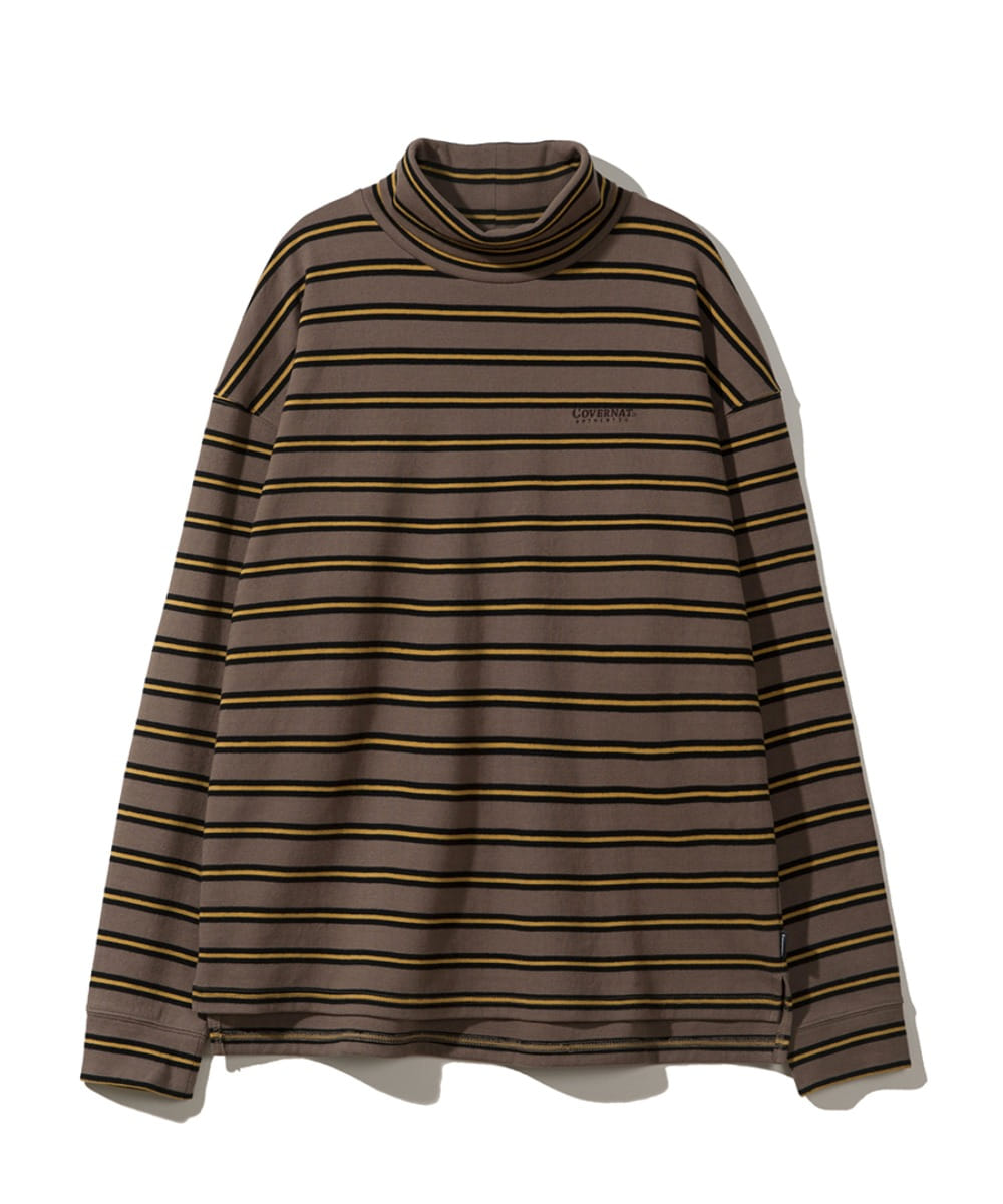L/S STRIPE ROLL NECK TEE BROWN