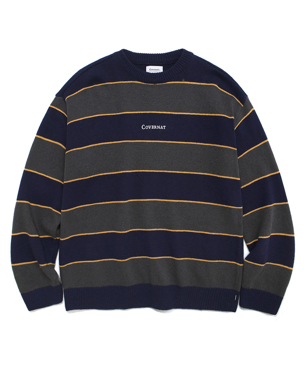 COVERNAT X TWC MULTI STRIPE KNIT CREWNECK NAVY