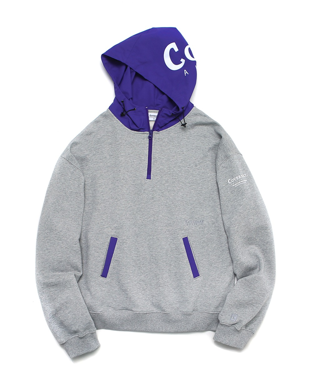 MIXED AUTHENTIC LOGO HOODIE GRAY