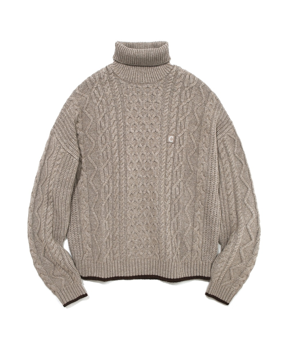 COVERNAT X TWC ARAN KNIT ROLL NECK OATMEAL