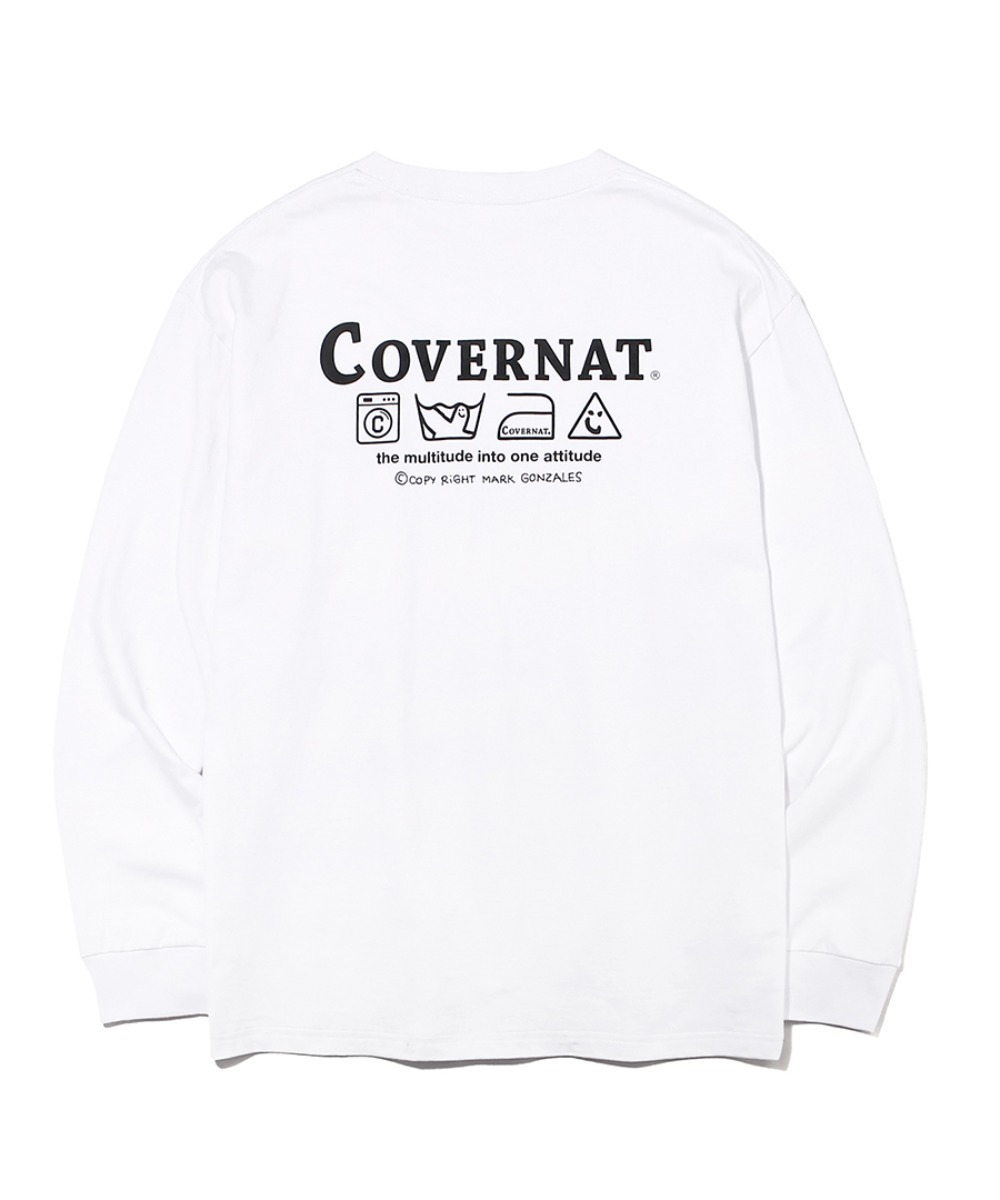 COVERNAT x M/G LAUNDRY LAYOUT LOGO LONG SLEEVE WHITE